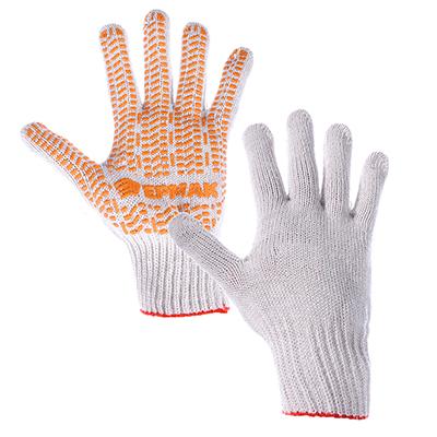 ЕРМАК Перчатки вязаные ЛЮКС х/б с ПВХ напылением, 5 нитей, белые, 62 гр, пакет