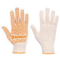 ЕРМАК Перчатки вязаные ЛЮКС х/б с ПВХ напылением, 5 нитей, белые, 62гр, 24см, по...