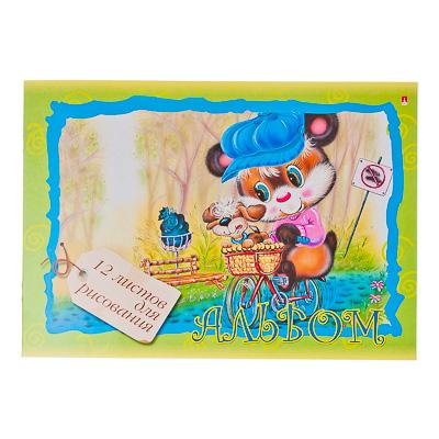 """Картинка Альбом для рисования 12л, А4, """"Мультики"""", 4 дизайна, арт.82693 в сети магазинов постоянных распродаж Галамарт"""