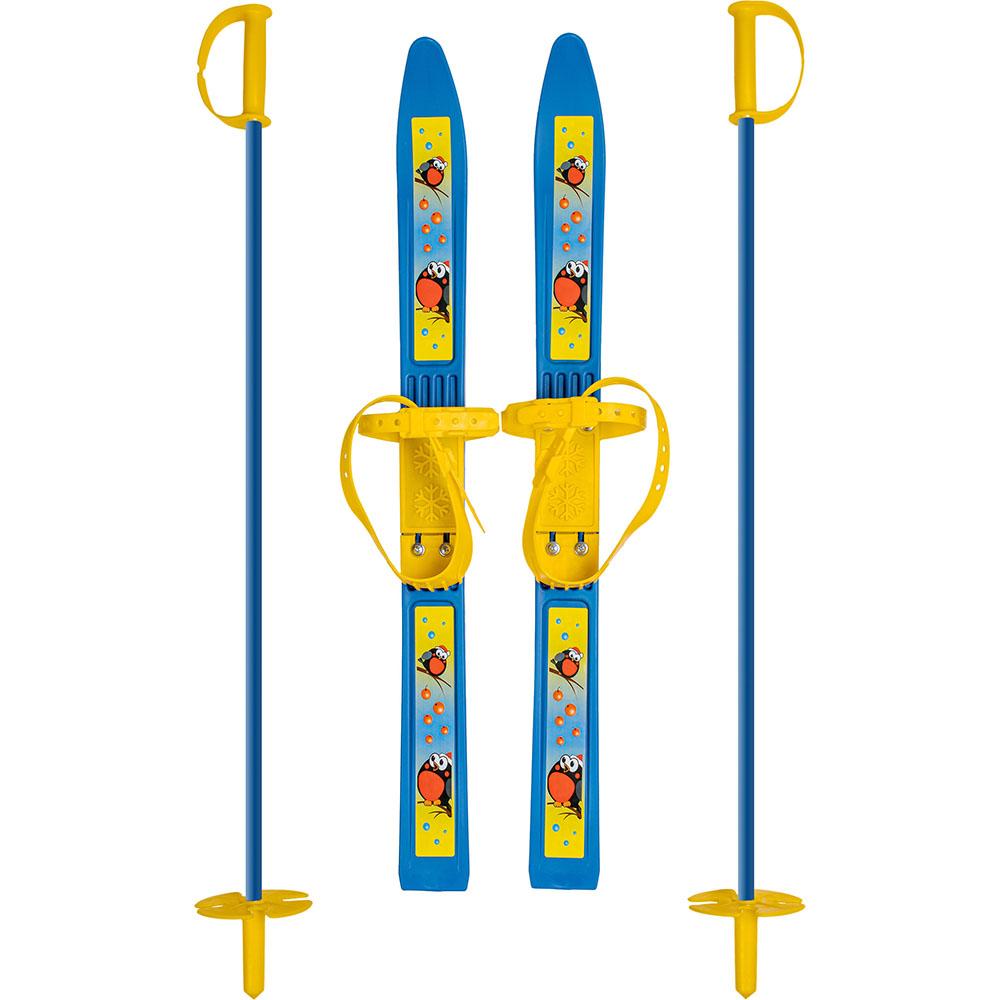 Картинка Лыжи детские «Олимпик-спорт» 66/75 см с креплением мягким пластиковым, с палками в сети магазинов постоянных распродаж Галамарт