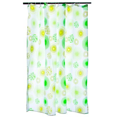 """Картинка VETTA Шторка для ванной, ткань полиэстер с утяжелит, 180x180см, """"Зелёные круги"""" в сети магазинов постоянных распродаж Галамарт"""