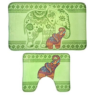 """Картинка VETTA Набор ковриков 2шт для ванной и туалета из микрофибры, 50х80см + 50x40см, """"Слоны"""", Дизайн GC в сети магазинов постоянных распродаж Галамарт"""