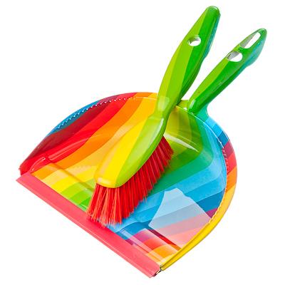 Картинка VETTA Совок+щетка Радуга разноцветный, полипропилен, SY8166S в сети магазинов постоянных распродаж Галамарт