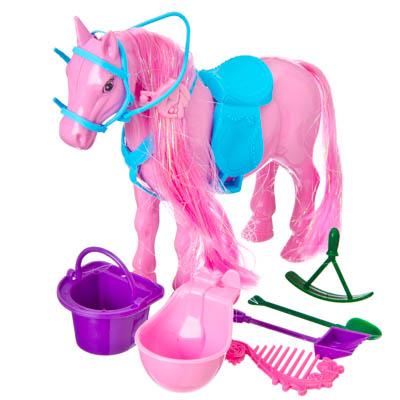 Картинка Пони с аксессуарами, пластик, 18см, A188-H40002 в сети магазинов постоянных распродаж Галамарт