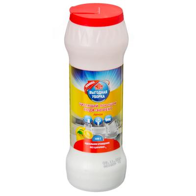 Картинка Порошок чистящий ВЫГОДНАЯ УБОРКА Сода-эффект Лимон п/б 400г 2454 в сети магазинов постоянных распродаж Галамарт