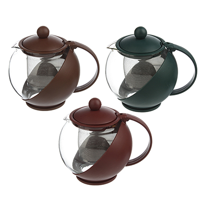 Чайник заварочный с сеточкой, 750мл, стекло, пластик, 3 цвета