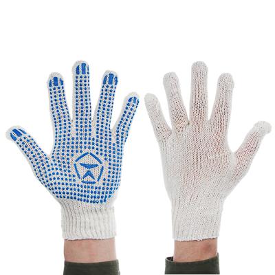 Фото товара Перчатки вязаные ЭКСТРА х/б с ПВХ напылением  Точка  4 нити