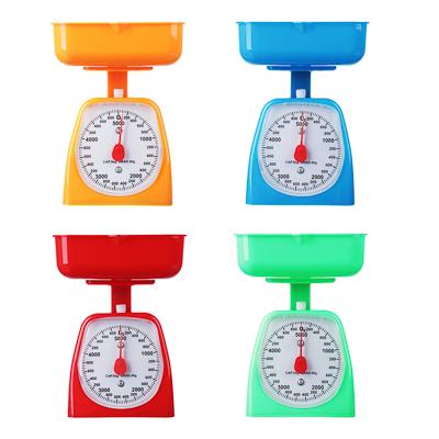 Фото товара Весы кухонные механические с пластиковой чашей 2л, макс.нагр. до 5кг, 4 цвета, арт.СХ-129