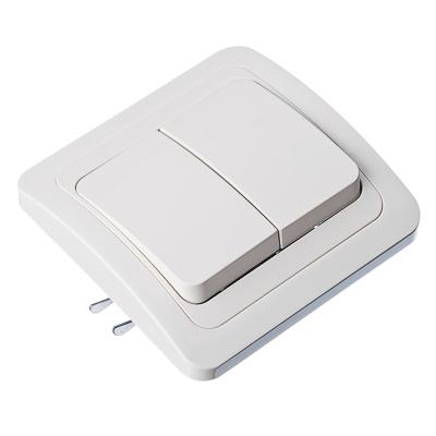 FORZA Классика Выключатель двухклавишный, цвет белый 10А 250В, огнеупорный пластик