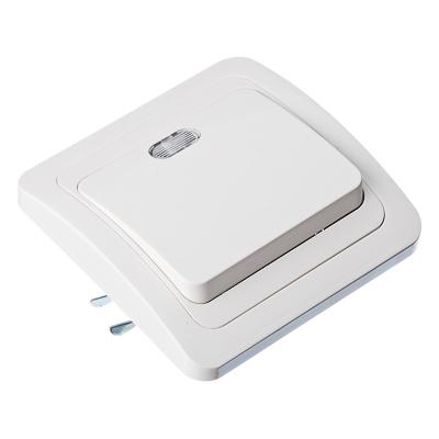 FORZA Классика Выключатель одноклавишный, с подсветкой, цвет белый 10А 250В, огнеупорный пластик