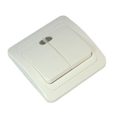 FORZA Классика Выключатель двухклавишный, с подсветкой, цвет белый 10А 250В, огнеупорный пластик