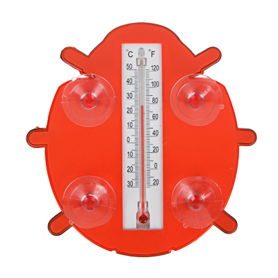 INBLOOM Термометр оконный  Божья коровка  17x17см, для крепления на стекло, пластик, пакет - фото товара