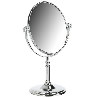 ЮниLook Зеркало настольное круглое, пластик, стекло, 17,5х29х10см, серебро, 1018 - фото товара
