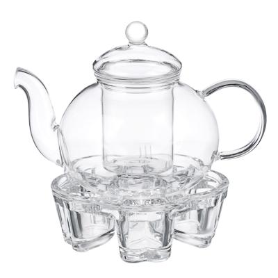 Чайник заварочный 800мл с подставкой для свечи, жаропрочное стекло