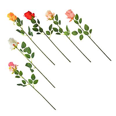 Цветок искусственный  В виде Розы  , полиэстер, 64см, 6 цветов - фото товара