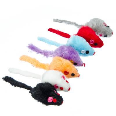 Фото товара Игрушка  Мышка пушистая , полиэстер, 4,8см, 7 цветов