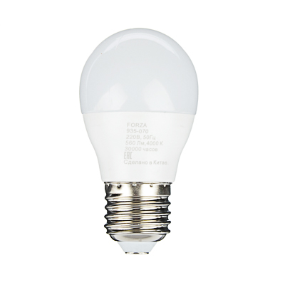 FORZA Лампа светодиодная G45 7W, E27, 560lm 4000К - фото товара