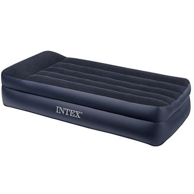 INTEX Кровать высокая флок Квин, 152х203х42см, с подголовником, встроенный электронасос, 64124 - фото товара
