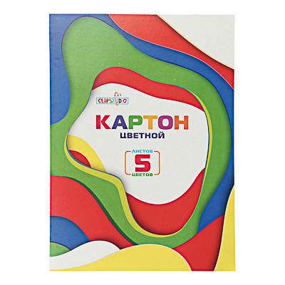 Фото товара ClipStudio Картон цветной 5 листов, 5 цветов, 19х27,5 см, в папке
