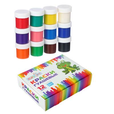 ClipStudio Краски гуашевые 12 цветов, объем баночки 20мл - фото товара