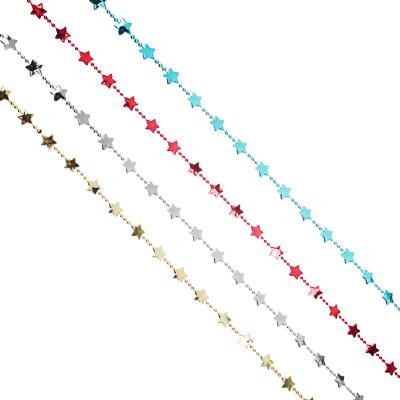 СНОУ БУМ Бусы декоративные со звездочками, 200см, пластик, 4 цвета VG3, VB4, VR1, VS - фото товара