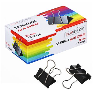 Фото товара ClipStudio Набор зажимов для бумаг металлических, 25мм, черные, 12шт в картонной коробке
