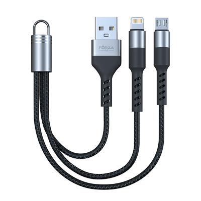 Кабель для зарядки 2 в 1, iP /Micro USB, Мини, 2А, чёрный, пакет