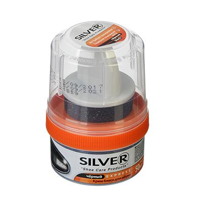 SILVER Крем-блеск для обуви, банка с губкой, 50мл, черный, 3005-01/2005-01 - фото товара
