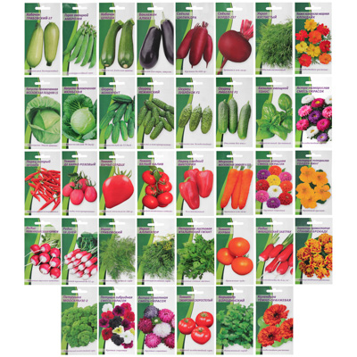 Семена овощей и цветов в ассортименте, цветной пакет - фото товара