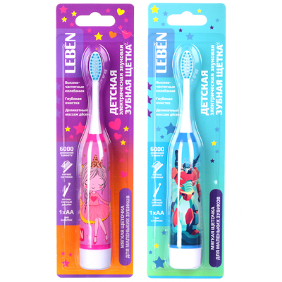 FORZA Зубная щетка электрическая детская, 18х2,6х2,6см, 1АА, 2 цвета - фото товара