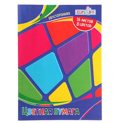 Фото товара ClipStudio Бумага цветная двусторонняя, 16 листов, 8 цветов, офсет, на скрепке