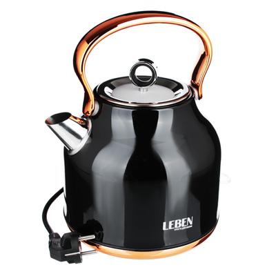 Фото товара LEBEN Чайник электрический 1,7л, 2200Вт нерж. сталь,  Ретро