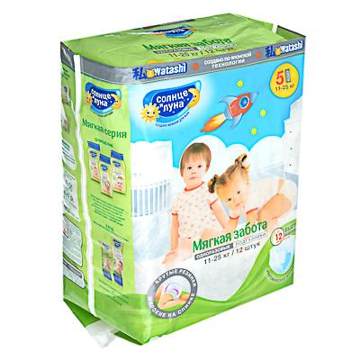 Подгузники детские СОЛНЦЕ И ЛУНА Мягкая забота 5/XL, 11-25 кг, 12шт - фото товара