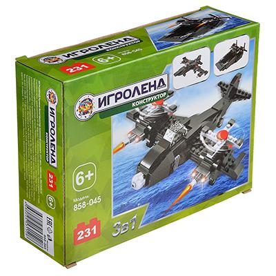 ИГРОЛЕНД Армия Конструктор военный самолет, 231деталь, пластик, 20х15х6см - фото товара