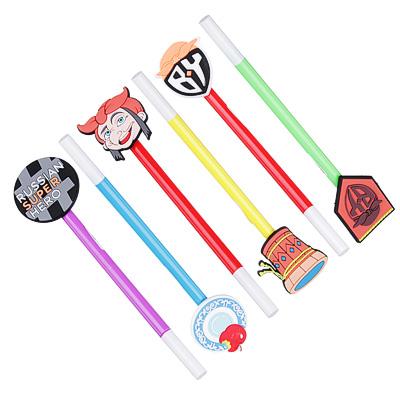 BY Ручка шариковая синяя с резиновым топпером 0,7мм, пластик, каучук, 6 дизайнов