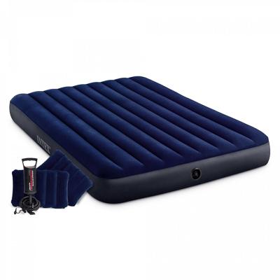 INTEX Кровать надувная Classic downy (Fiber tech) Квин, руч.насос, 2 подушки,1,52x2,03м x 25см,64765 - фото товара