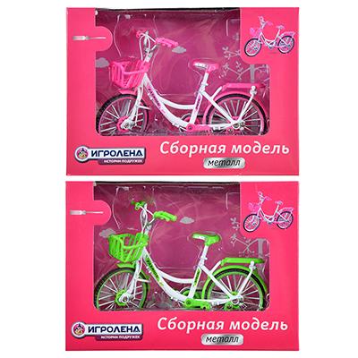 ИГРОЛЕНД Велосипед сборный, металл, 18х13х7см, 2 дизайна - фото товара