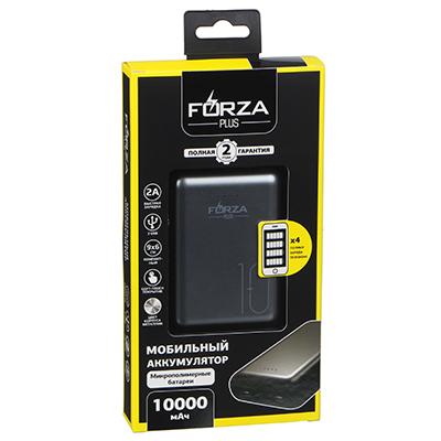 FORZA Аккумулятор мобильный, 10000 мАч, 2 USB, 2A, металлик, мягкий пластик - фото товара