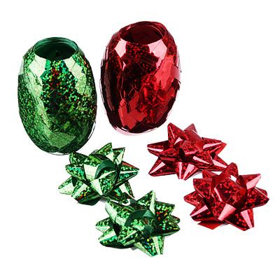 Набор для упаковки подарка, 2 ленты и 4 бантика, красный и зеленый цвета - фото товара