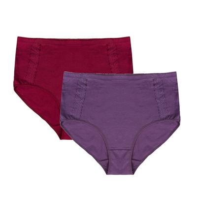 GALANTE Трусы женские макси с декором, высокая талия, 95%хлопок, 5%спандекс, р-ры 48-56, 2 цвета - фото товара