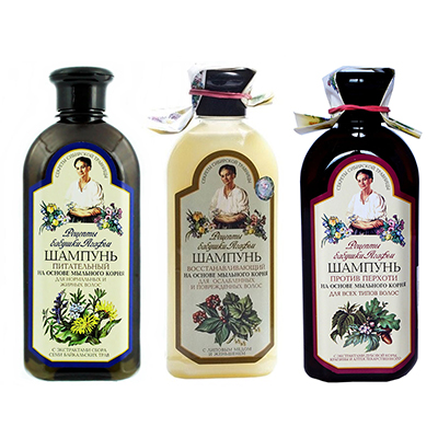 Шампунь для волос Рецепты Бабушки Агафьи, 3 вида, 350 мл