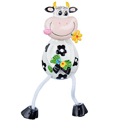 Магнит с ножками в виде коровки, 4x12,5x3см, полистоун - фото товара