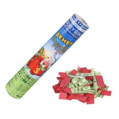 СНОУ БУМ Хлопушка пневматическая, 30 см, наполнитель бумага 100 долларов и конфетти, дизайн 6 - фото товара