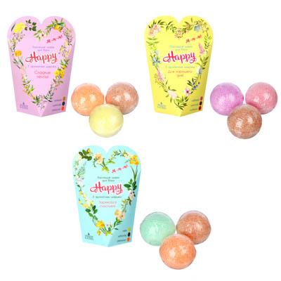 Набор бурлящих шаров для ванн  Сладкие мечты   Для хорошего дня ,  Заряжайся счастьем , 3 шт. по 40г - фото товара