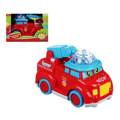 ИГРОЛЕНД Автомобиль пожарный музыкальный с проектором, свет, звук, движение, 3АА, ABS, 16х9х12см - фото товара