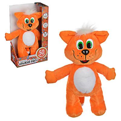 BY Игрушка мягкая в виде рыжего кота, звук, 3LR44, полиэстер, 30х26х15см - фото товара