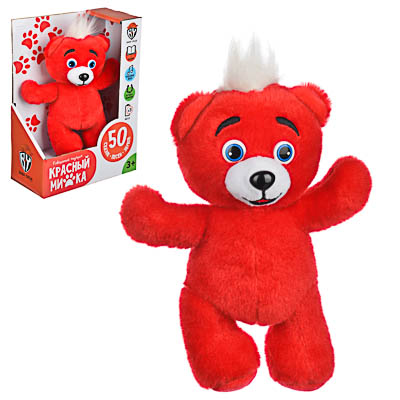 BY Игрушка мягкая в виде красного медвежонка, звук, 3AG13, полиэстер, 21х19х17см - фото товара