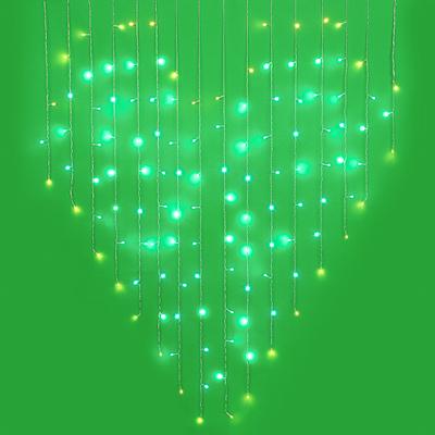 СНОУ БУМ Гирлянда эл. бахрома сердце 1,5х1,5м, 124LED, голубой+шампань, ПВХ прозр.,пост.свеч., 220В - фото товара