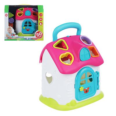 ИГРОЛЕНД Игрушка интерактивная  Домик-сортер , звук, 3АА, пластик, 24,5х22,3х16,5см, 2 цвета - фото товара