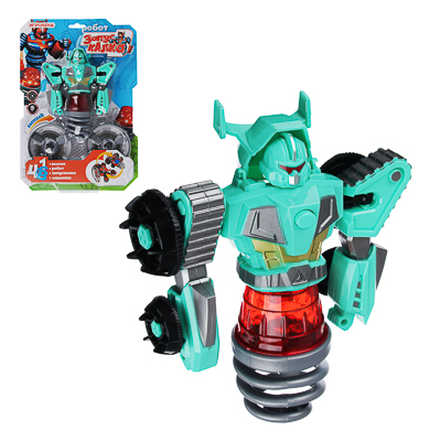 ИГРОЛЕНД Игрушка  запускалка  в виде трансформирующ. робота,волчок, диск, свет, пластик, 21,6х30х5см - фото товара